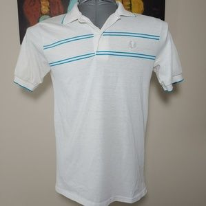 Vintage Fred Perry White Blue Striped Polo Size M